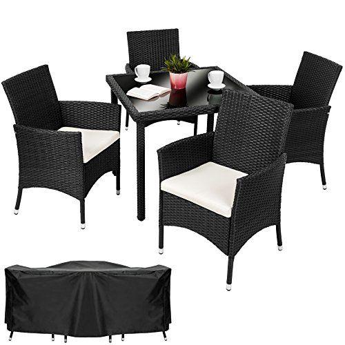 TecTake 4 Chairs + 1 Table Luxury Rattan Garden Furniture Set Part 57