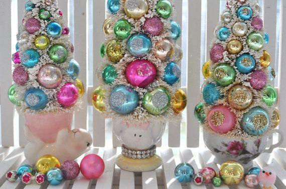 Bottle Brush Tree Tall Easter Bunny Pink vintage glass ornaments chic parade mica flocking glitter shabby egg cup bottlebrush
