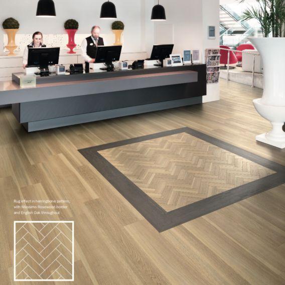 Nest Royal Brushed Natural Oak Luxury Parquet Vinyl Tile Wood Flooring - 2.5mm Thick