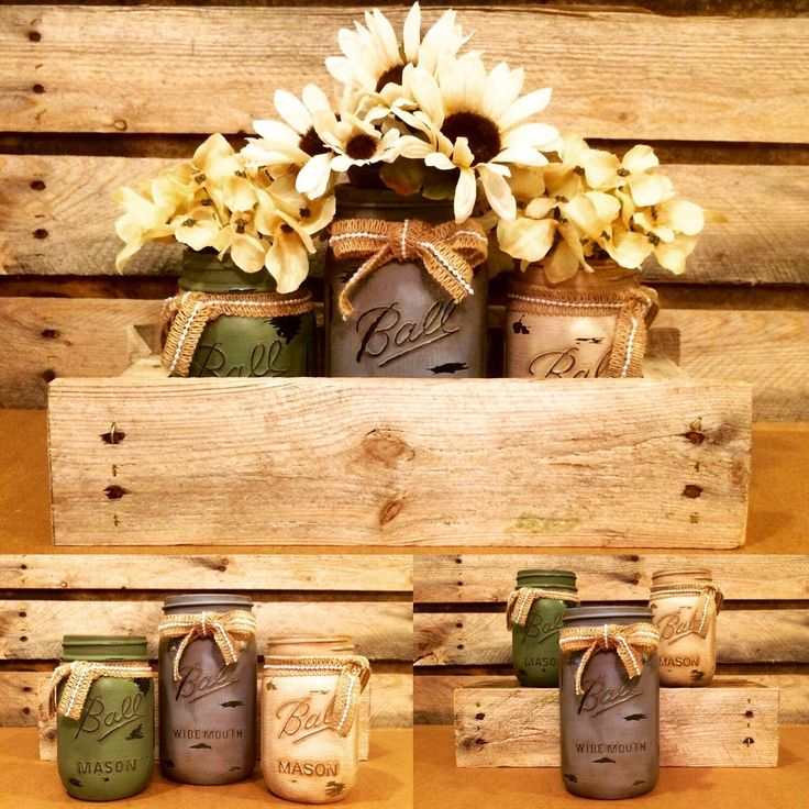 I took the rustic primitive route and created this great centerpiece to add to my shop today. I love the antiqued green, Ivory and blue gray colors of this set! The primitive box is made of pallet wood. This earth tone set would be beautiful in any home!
