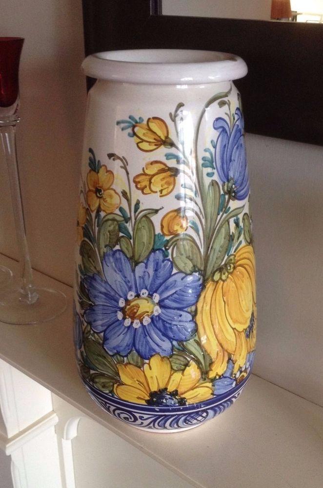 Large Vintage Floral Castelli Simonelli Dipinto A Mano