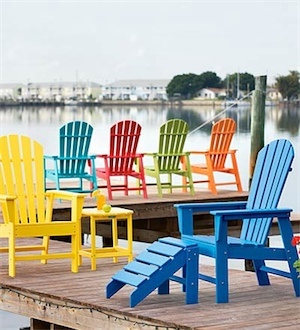 Colors for dad's adirondack chairs.. also thinking he should make those cute little foot rests and a couple matching tables!