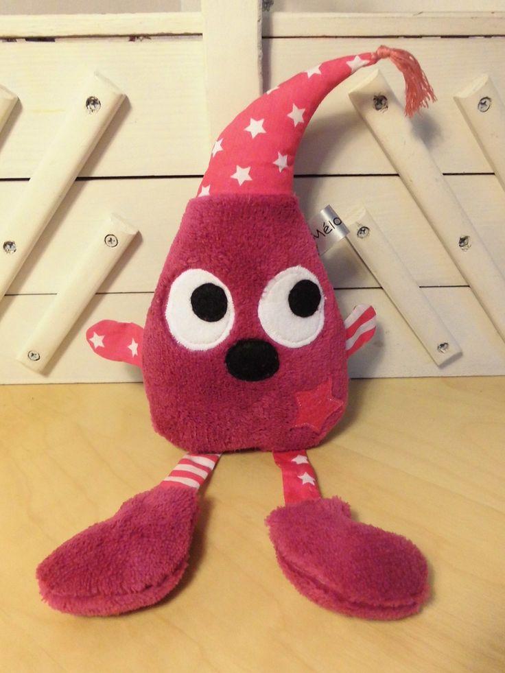 Doudou lutin - fuchsia rose - rayures et étoiles - peluche bébé - fait-main