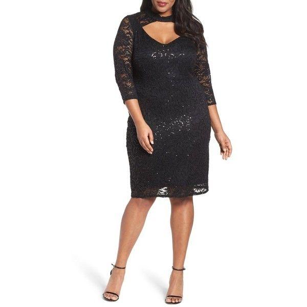 Plus Size Women's Marina Cutout Sequin Lace Sheath Dress ($139) ❤ liked on Polyvore featuring dresses, black, plus size, cutout dresses, plus size sequin dress, cut out dresses, plus size sheath dress and lace sheath dress