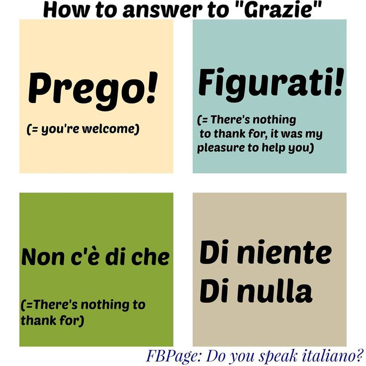 How to answer to 'Grazie' / Come rispondere a un 'Grazie'