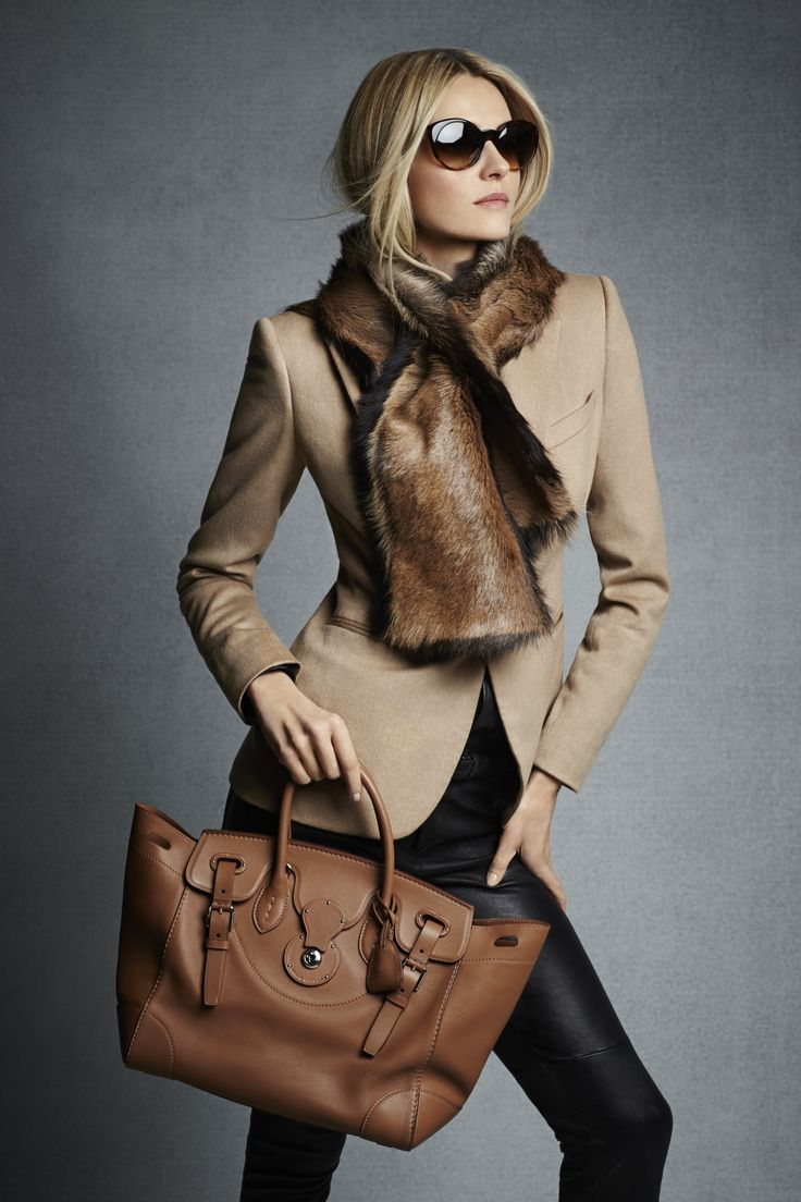 Camel & Black - #Fall2014 - #RLBlackLabel Pre-Fall 2014: RL Gold Soft Ricky Bag is exquisitely made in Italy from layers of hand-stitched, ultra-soft Italian nappa leather taking up to eight hours to construct.