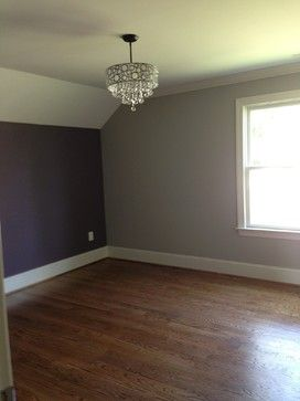 Great teen bedroom with gray / grey walls and plum / purple accent wall.  Check out the chandelier with crystals hanging down...what girl wouldn't love that???!!!