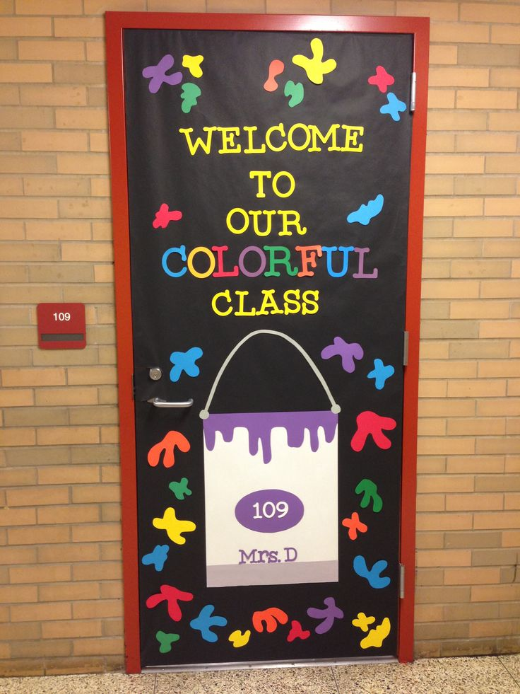 Welcome to our colorful classroom door design