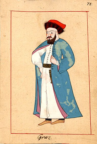 Greek. The 'Rålamb Costume Book' is a small volume containing 121 miniatures in Indian ink with gouache and some gilding, displaying Turkish officials, occupations and folk types. They were acquired in Constantinople in 1657-58 by Claes Rålamb who led a Swedish embassy to the Sublime Porte, and arrived in the Swedish Royal Library / Manuscript Department in 1886.