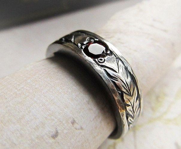 Stunning Wedding Band Engraved Patterns Hand Engraved Garnet Ring Leaf Pattern on Sterling