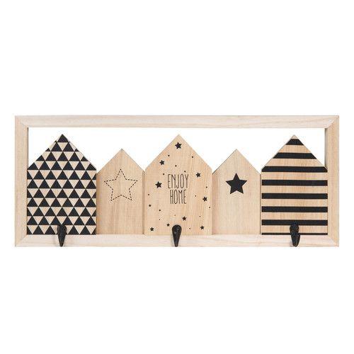 Kleiderhaken BLACKSTAGE HOME aus Holz mit 3 Aufhängern