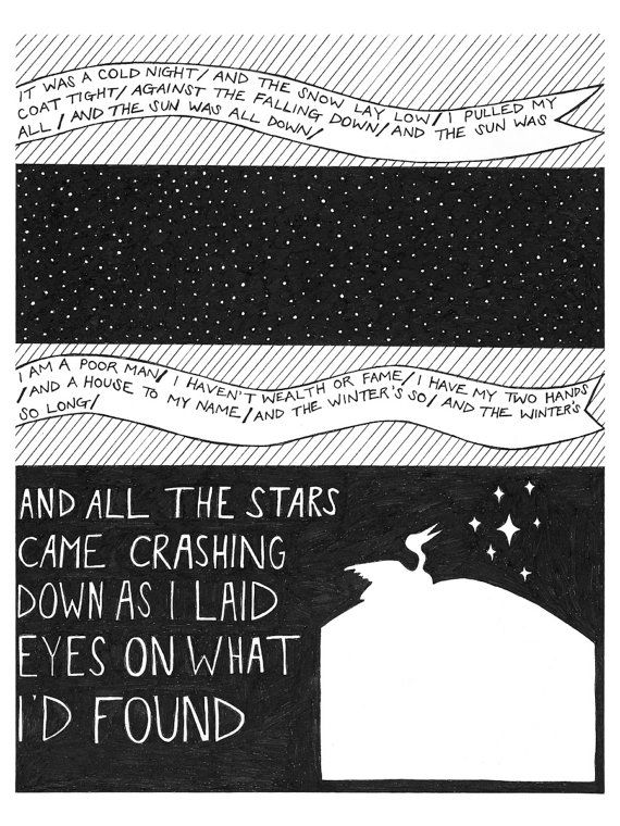 """Song Lyric Art - The Decemberists' """"The Crane Wife"""" - Set of Four Prints"""
