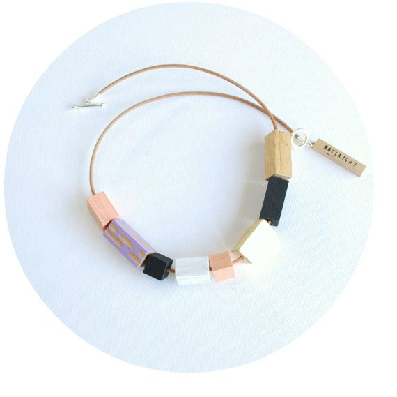 Bead Necklace. Contemporary Handcrafted Beads on Leather. Maclatchy.