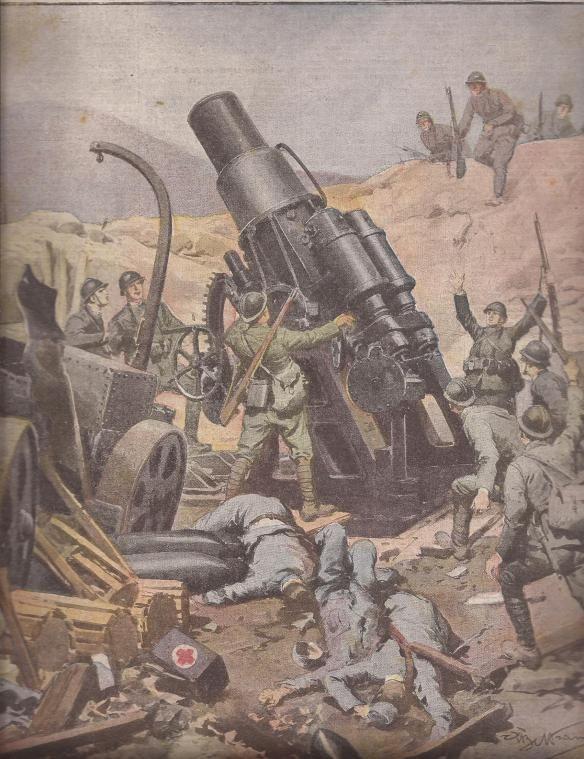 Skoda 30,5 cm ( Austro-Hungarian) captured by Italian soldiers. From La Domenica del Corriere.