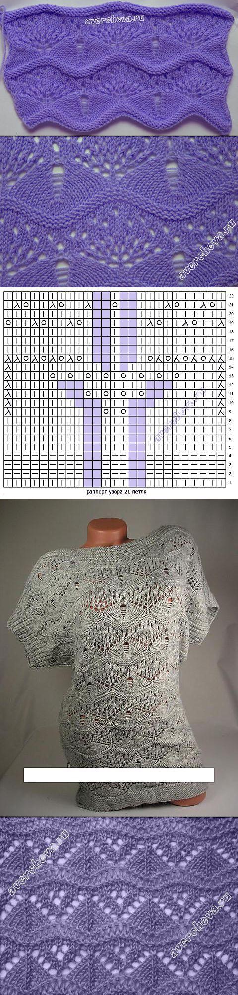 ВОЛНИСТЫЙ УЗОР. | вязание спицами и крючком | Постила