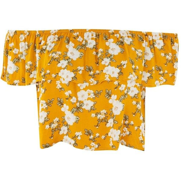 Floral Print Bardot Crop Top by Glamorous Petite found on Polyvore featuring tops, crop tops, shirts, mustard, flower print crop top, rayon tops, summer tops, orange top and floral tops