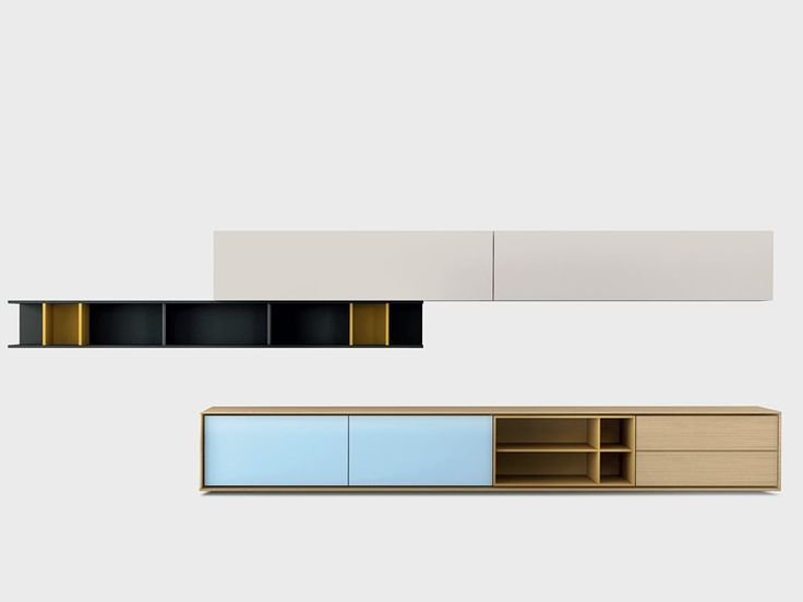 Contemporary style wooden storage wall AURA C7-2 Aura Collection by TREKU | design Angel Martí, Enrique Delamo