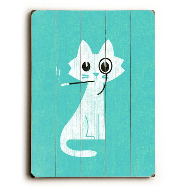 This Aristocrat Cat wood sign by Artist Budi Satria is sure to bring style to your space and a smile on your face.