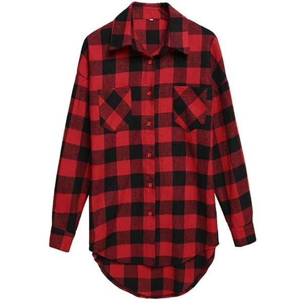 Yiyou Women's Mid-Long Style Long Sleeve Casual Plaid Flannel Shirt (£10) ❤ liked on Polyvore featuring tops, long tops, red top, red shirt, long-sleeve crop tops and red plaid shirt