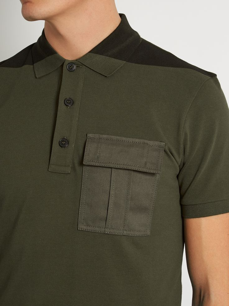 Bi-colour flapped-pocket polo shirt | Valentino | MATCHESFASHION.COM US