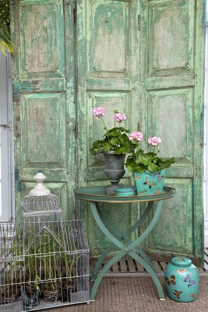 painted shabby green doors
