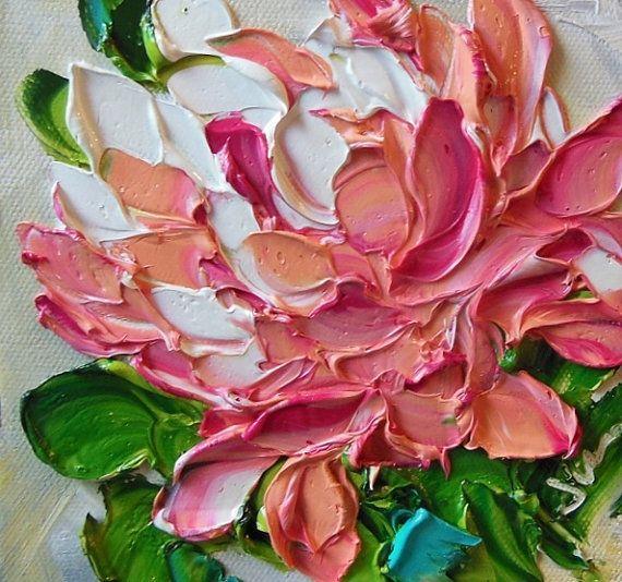 Original Ölgemälde Kunst Impasto Pink Peony von IronsideImpastos                                                                                                                                                                                 Mehr