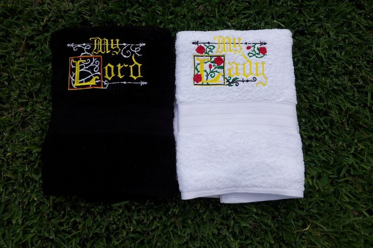 My Lord/My Lady His and Hers Towels by HourGlassSewing on Etsy