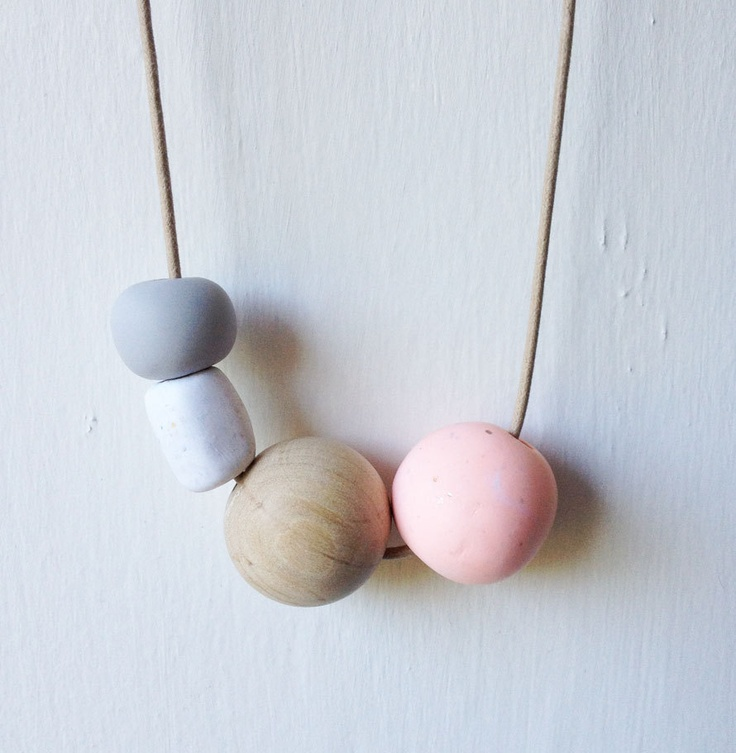 Clay and Wooden Beads on Leather Cord No.3. via Etsy.