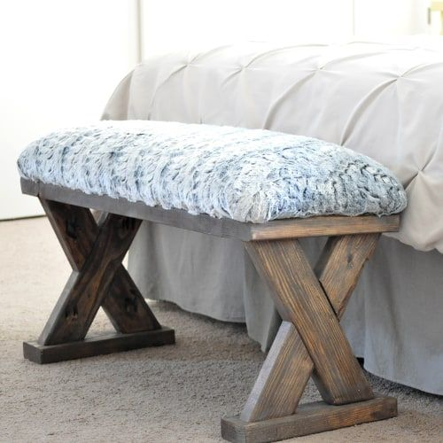 DIY Woodworking Ideas DIY Upholstered X-Bench using 2 x 4 boards with Plans