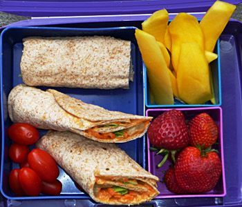 Customizable Wrap Lunch: Hummus Wrap with your favorite Vegan ingredients, Sliced Mango, Strawberries and Cherry Tomatoes!