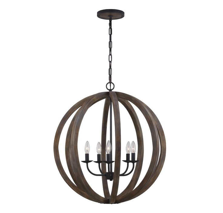 feiss f29365wowaf allier 5light weathered oak u0026 forged iron large