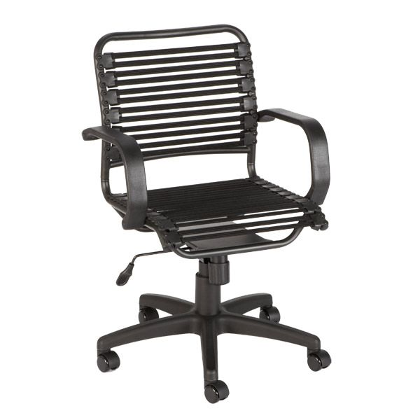 Black Flat Bungee Office Chair With Arms