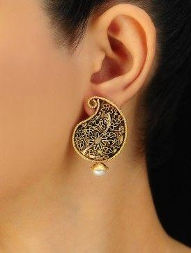 Paisley Silver Earrings via Jaypore