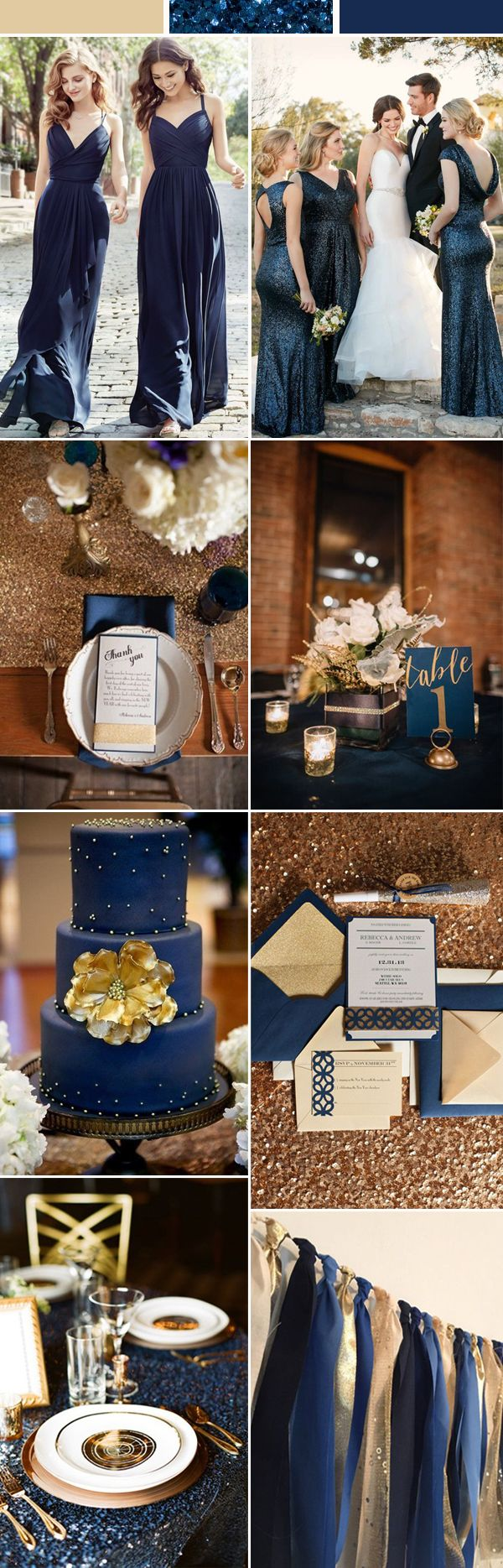 gold and navy blue wedding color ideas / http://www.deerpearlflowers.com/top-6-wedding-trends-for-2018/