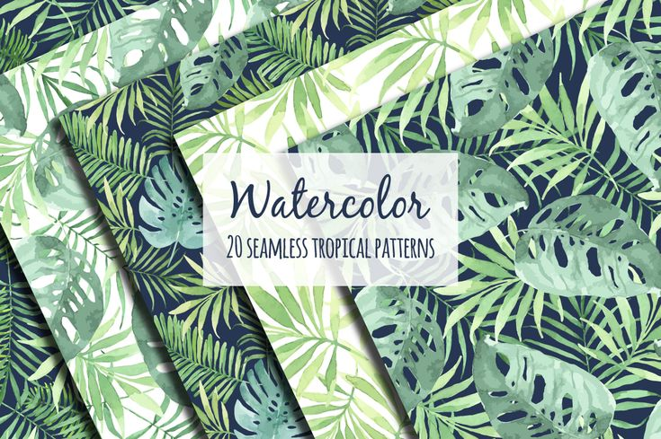 Tropical designs in watercolor. example image 1