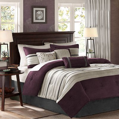 This seven-piece comforter set will add a classic touch to your master bedroom or guest room. The matching comforter, bed skirt, two shams and three accent pillows allow you to decorate effortlessly.