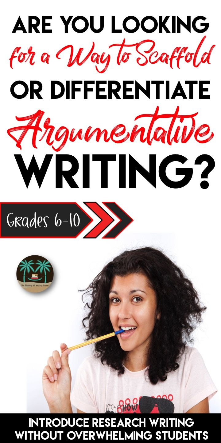 Differentiate and scaffold argumentative writing units with these quality argumentative paragraph writing resources from The Reading and Writing Haven.