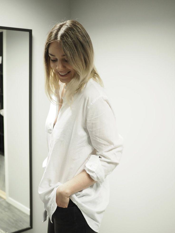 caico hvit oversized skjorte dame samsøe & samsøe
