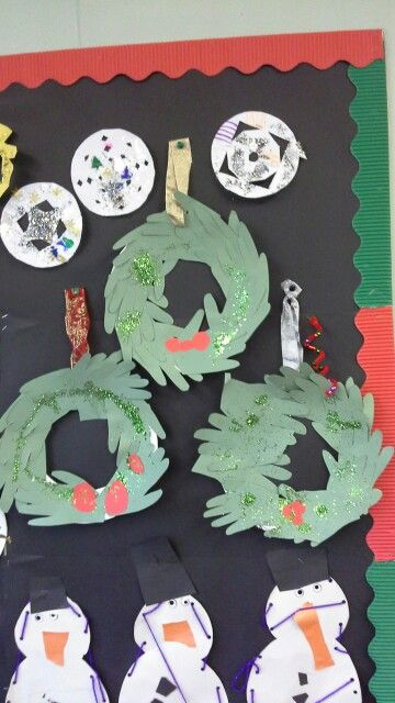 Snowflakes, snowmen and wreaths made to celebrate christmas