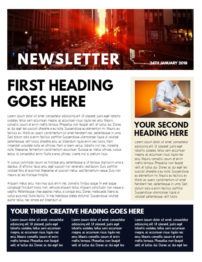 professional newsletter sample  click to customize