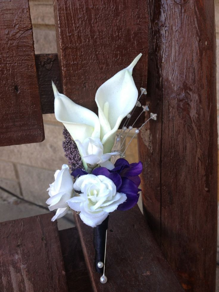 2 pc. Purple and White Real Touch Silk Wrist Corsage and Boutonniere Combo For Weddings or Prom. $36.00, via Etsy.