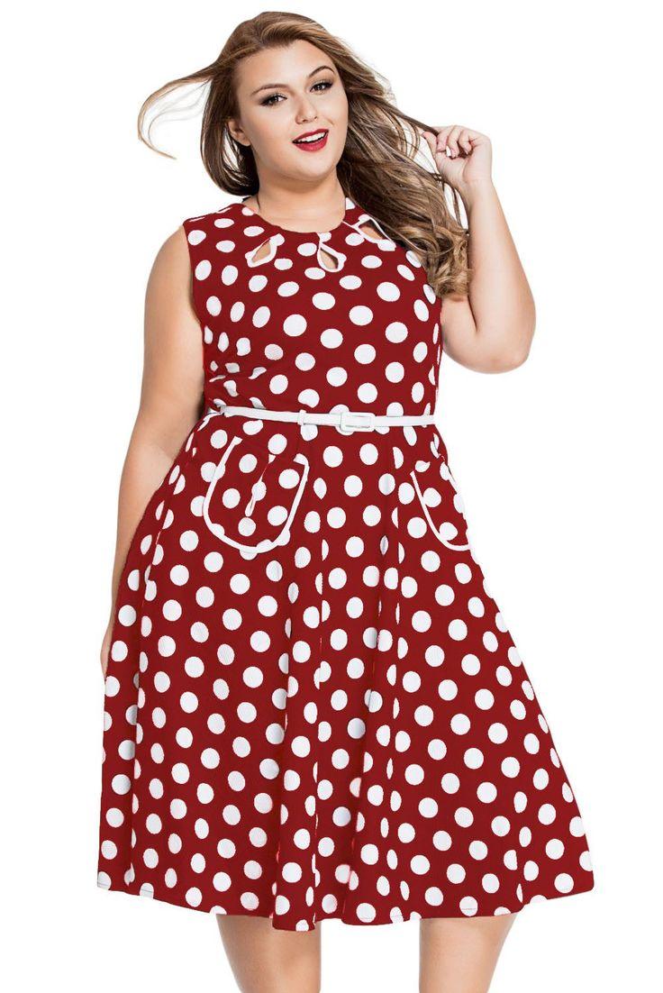 Smart Polka Dot Print Keyholes Vintage Plus Size Red Women Dress
