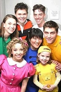 Christian Borle, Sutton Foster, and the rest of the Snoopy cast. I think I spot a Hunter Foster as well.