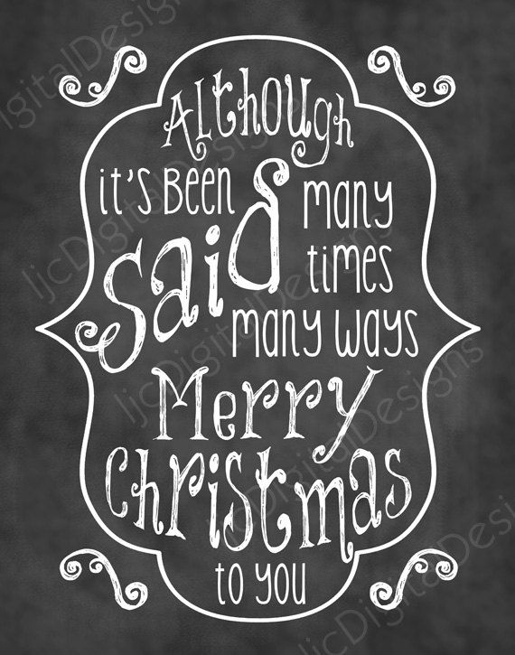 Christmas Song Chalkboard Word Art Lyrics Printable Digital Typography Decoration 11x14 and 8x10