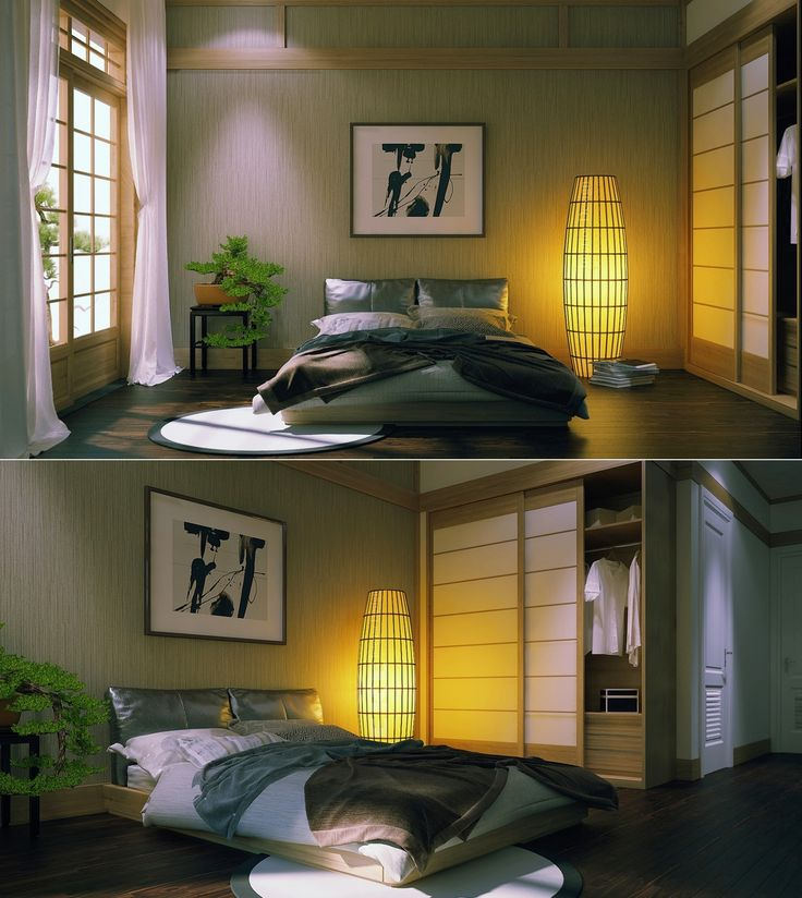 Stylish zen inspired interior design photo japanese style zen inspired  master bedroom modern traditional space saving closet with sliding door  lampion floor ...