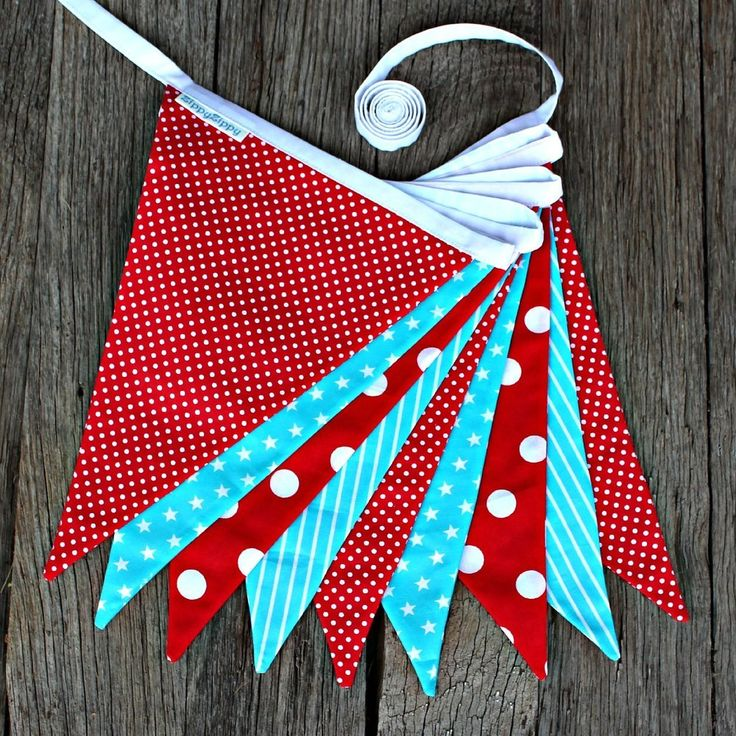 Red and Aqua Bunting $35