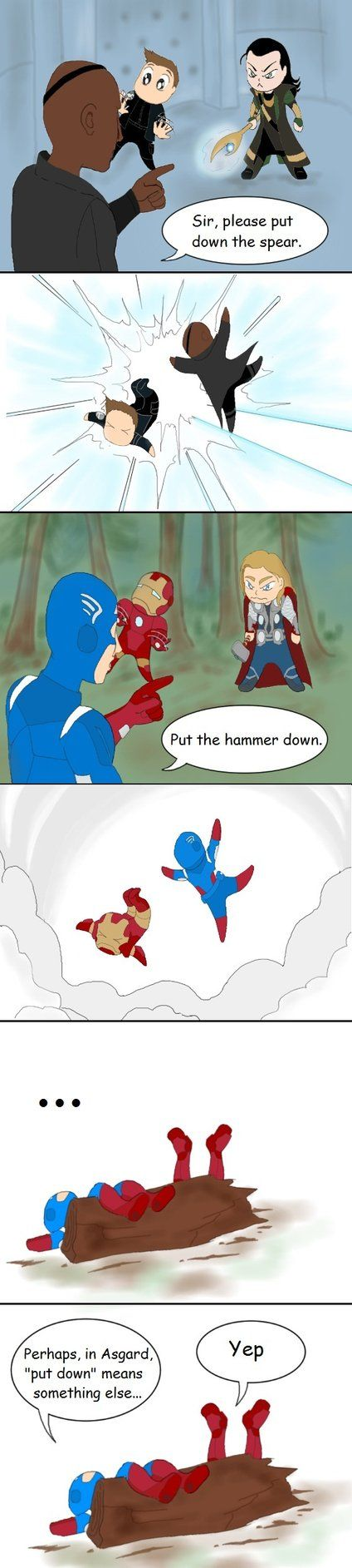Put Down by Alirusa on deviantART Asking nicely doesn't suit anyone in a swinging mood. Or just Asgardians.