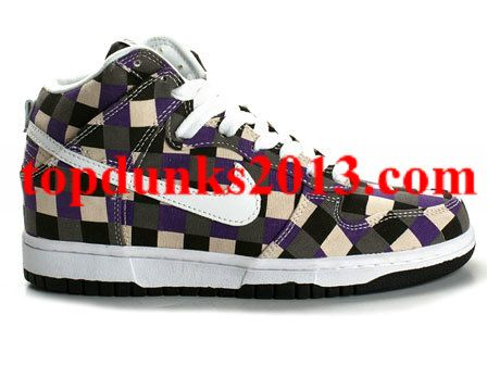 White Black Purple Checker Pattern Nike Dunk High Top Discount
