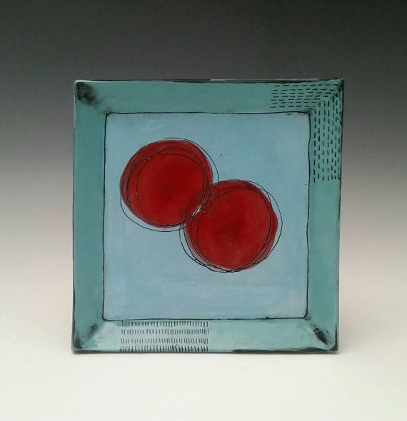 Check out this item in my Etsy shop https://www.etsy.com/listing/294806529/square-ceramic-plate-with-red-blooms