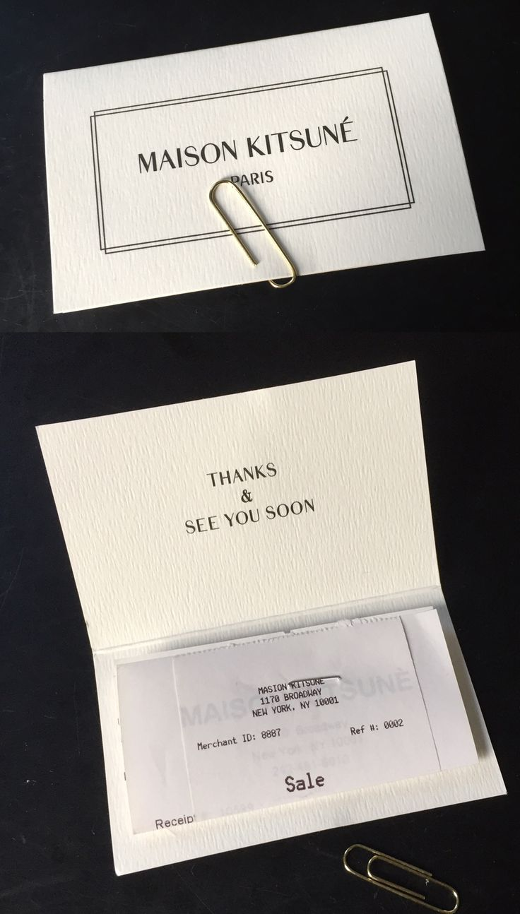 Maison Kitsune - receipt thank you card